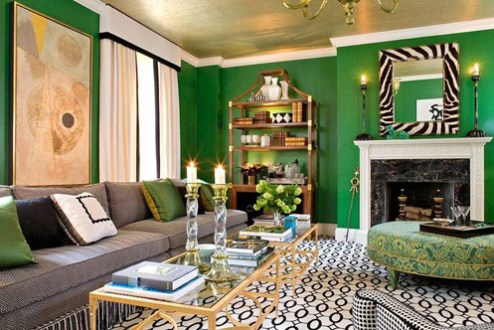 Malachite  Emerald Green and Gold   Katherine Spicer Interior Design Coffee tables  a book shelf and a ceiling create a perfect trio of  golden brass accents that make this living room truly dramatic