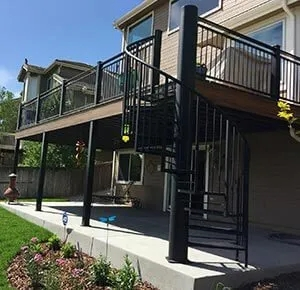Custom Spiral Staircases Goddard Spiral Stairs | Spiral Staircase Outdoor Deck | Outside Deck | Built Spiral Stair | Balcony Outdoor | Log | 3 Storey