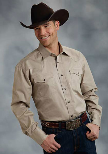 Roper Poplin Long Sleeve Snap Front Western Shirt Tan