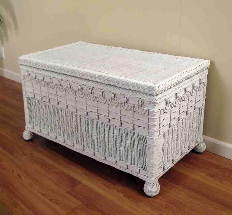 White Wicker Storage Bench Home Furniture Design