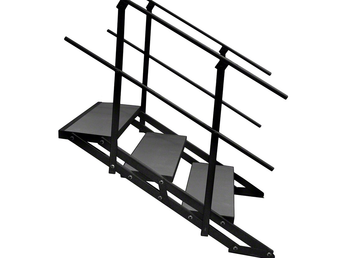 Staging 101 Sstair4X3C Sstair4X3I Stairs For 16 32 H Stage   Folding Stairs With Handrails   Elderly   Hydraulic   Hand Rail   Aluminum   Interior