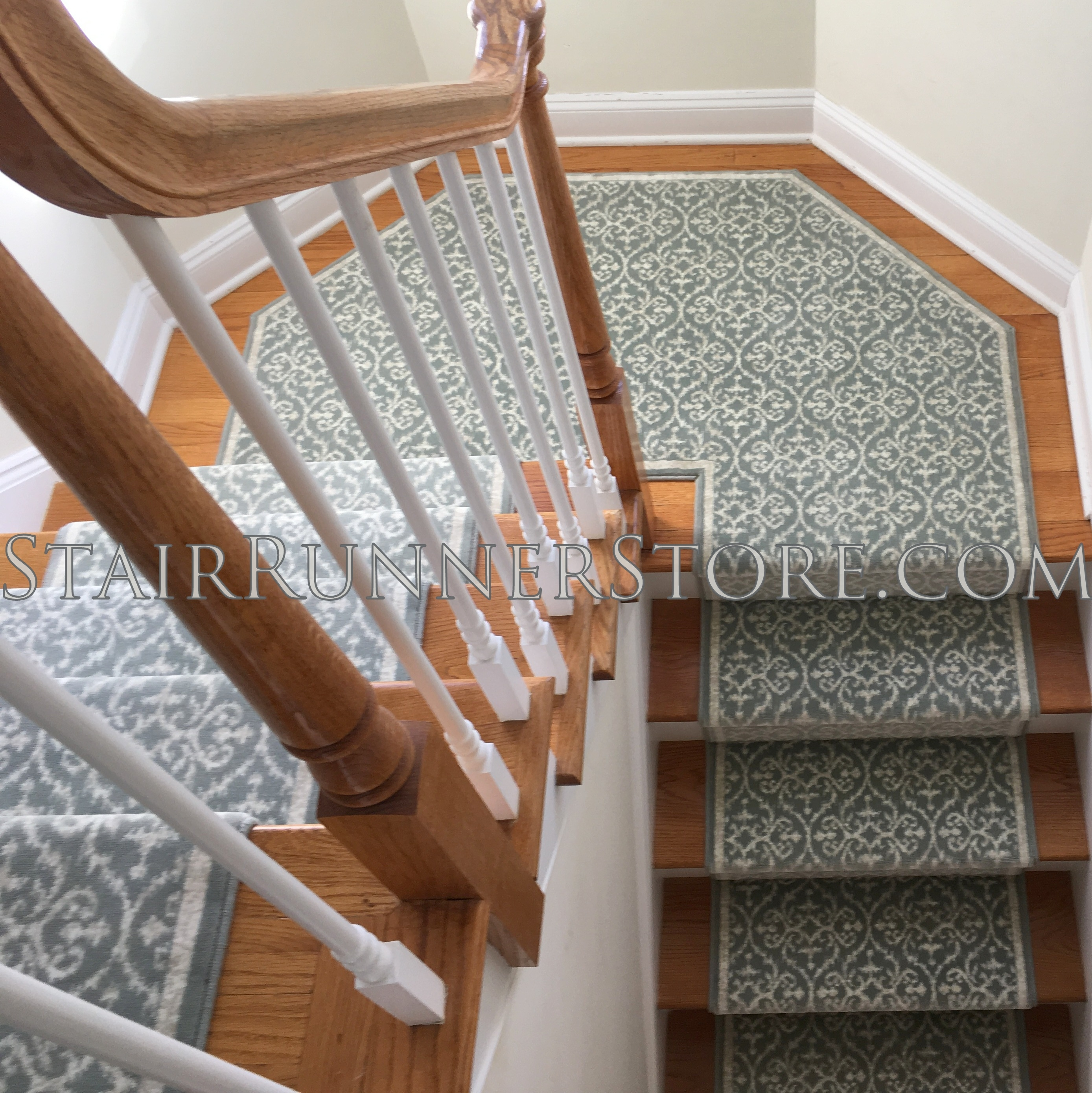 Angled Landings • Stair Runner Store Blog   Patterned Carpet For Stairs And Landing   Carpeting   Middle Open Concept   Diamond Uk Pattern   Striped Stair Carpet Entrance   Victorian Style