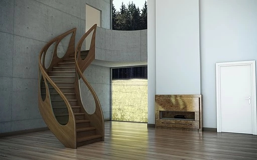 Design Railings Siller Stairs   Wooden Staircase With Glass   Oak   Glass Design Golden   Tempered Glass   Unusual Interior   Detail