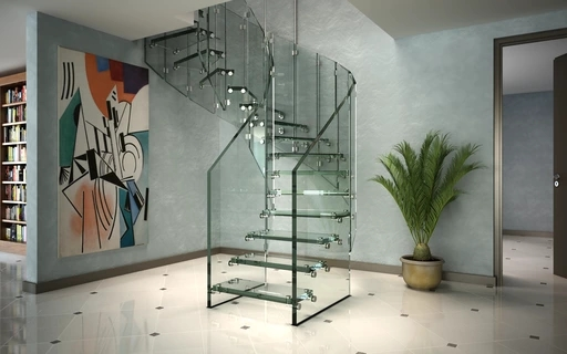 Spiral Stairs Siller Stairs | Spiral Staircase With Glass Railing | Exterior | In India Staircase | Stair Wood Bracket | Glass Insert | Inside Glass