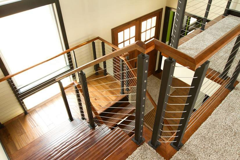 Cable Railing Systems What S Cable Rail All About Cable   Wood And Wire Stair Railing   Hampton Style   Exterior   Closed Staircase   Horizontal Round Bar   Square Wire