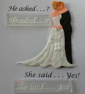 He Asked She Said Yes 2 Wedding Stamps