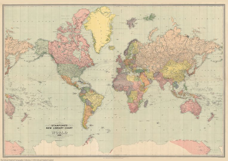 Stanford s General Map of the World  1920    XL Size  120 x 80cm     Stanford s General Map of the World  1920    XL Size  120 x 80cm
