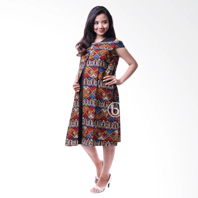 mama hamil mama hamil baju hamil dress menyusui bolero batik etnik sabrina cantik orange full06