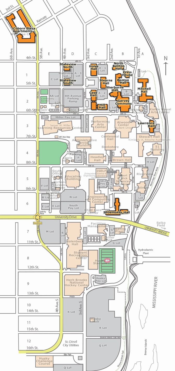 University Mn Map Life Buildings Science