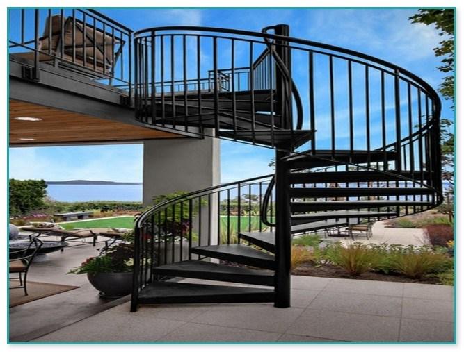 Spiral Staircase Outdoor Deck   Exterior Spiral Staircase Cost   Spiral Stair Case   Deck   Handrail   Iron   Metal