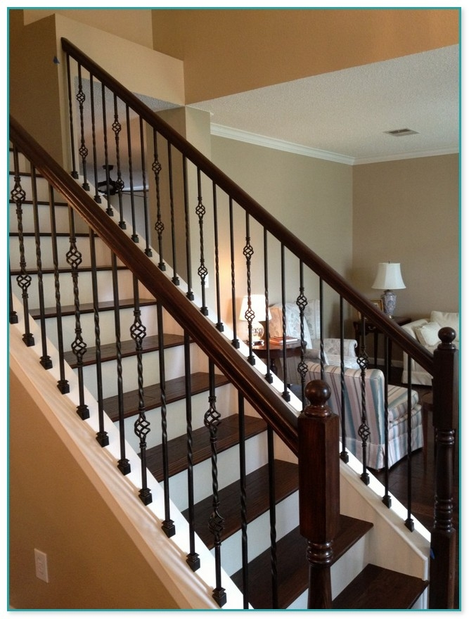 Staircase With Wrought Iron Spindles | Wrought Iron Banister Spindles | Metal | Wooden | Double Basket | Cast Iron | Type