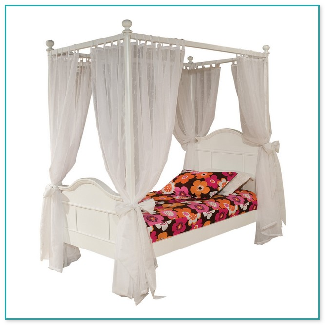 White Metal Twin Canopy Bed