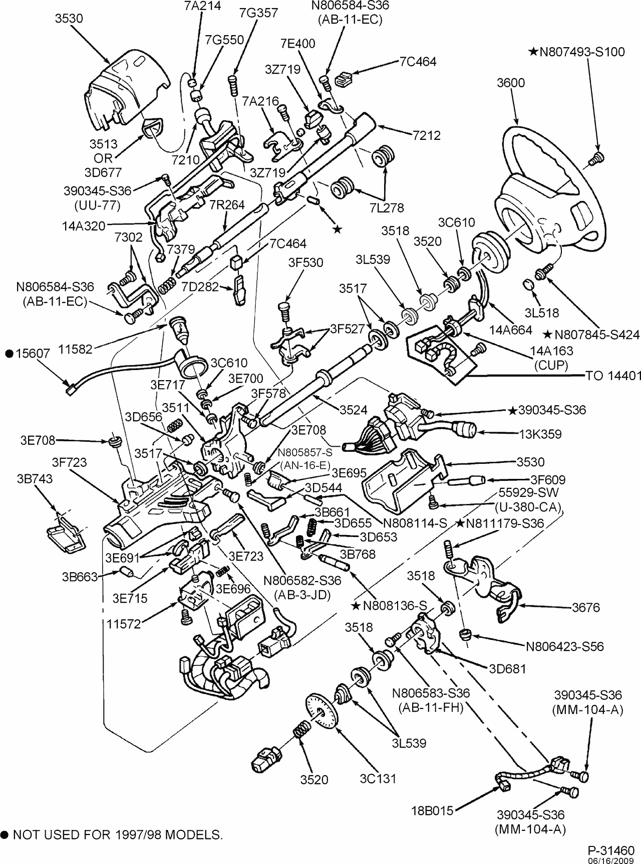 Exploded view for the 1999 ford f 150 tilt steering column services f150 wiring diagram 1999 f150 steering diagram