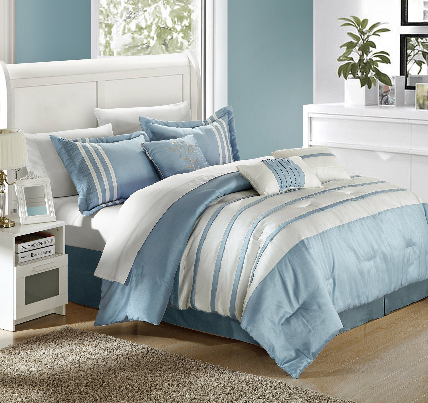 Blue And Bath Curtains Beyond Bed Tan