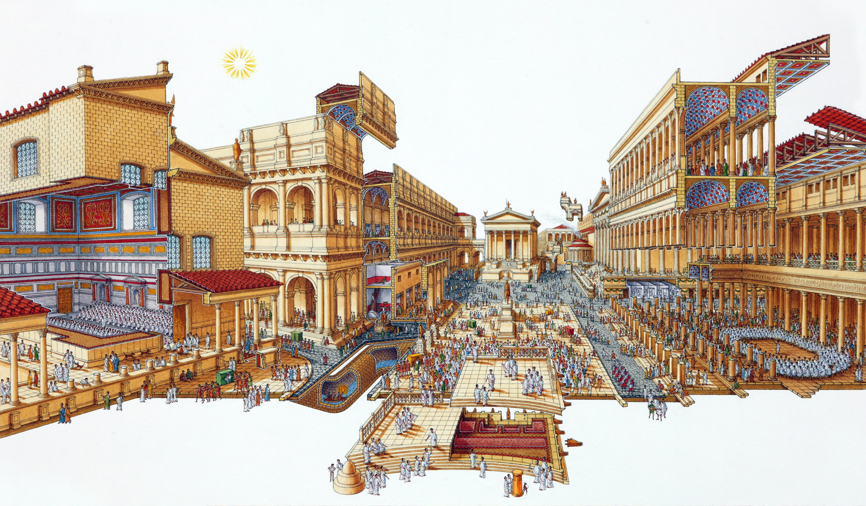Stephen Biesty - Illustrator - Exploded Views - Roman Forum