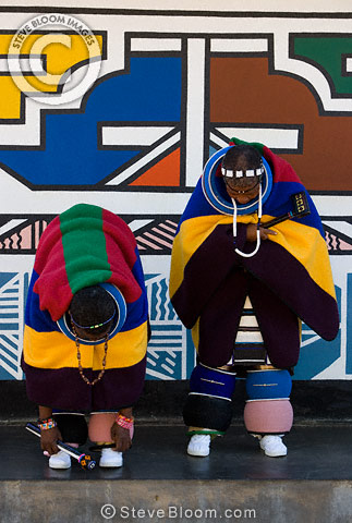 Ndebele Women In Tribal Dress Outside A Traditionally