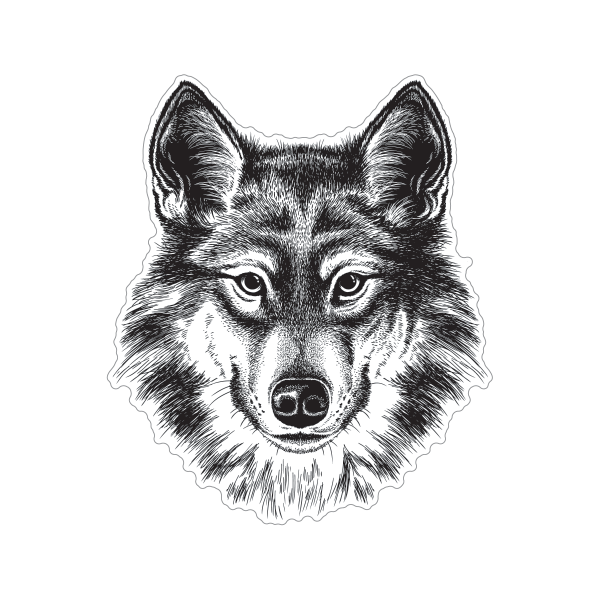 Printed Vinyl Wolf Head Lineart Stickers Factory