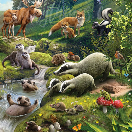 Animals of the Forest Mural - Cute Forest Animals Woodland ...
