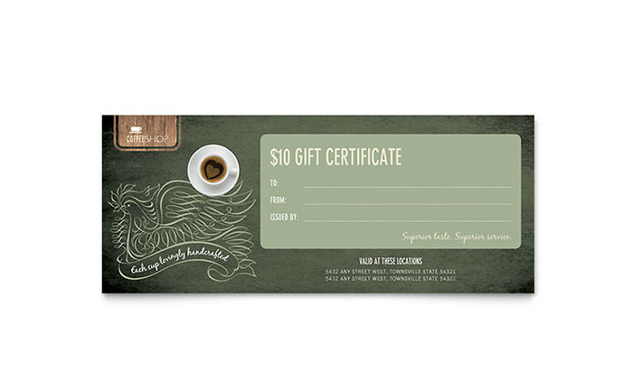 Gift Certificate Templates   InDesign  Illustrator  Publisher  Word     Coffee Shop Gift Certificate