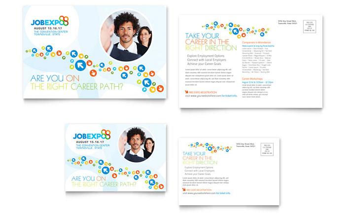 Job Expo Amp Career Fair Postcard Template Design