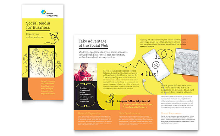 Social Media Consultant Tri Fold Brochure Template Design