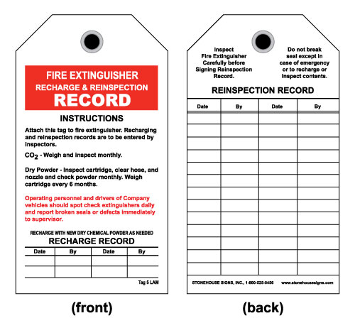 Fire Extinguisher Inspection Tag - Front-Fire Extinguisher ...