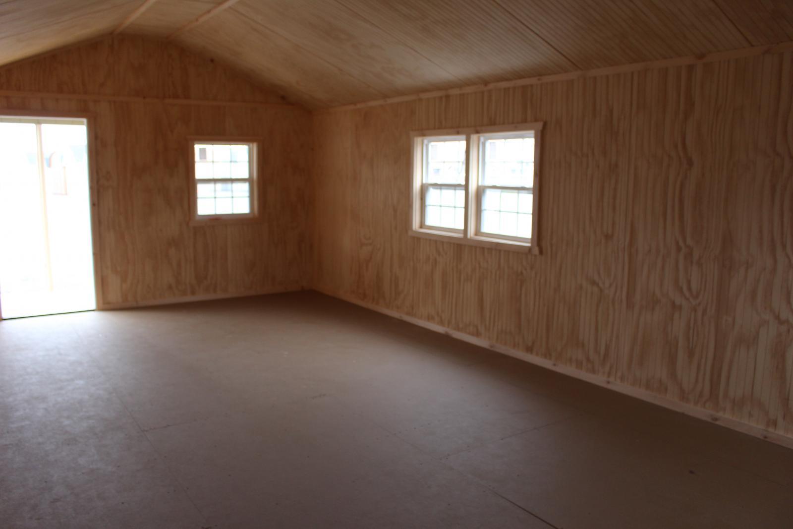 Pine Creek 14x32 Peak White Deer Cabin Shed Sheds Barn