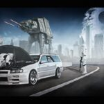White car with star wars characters surrounding it