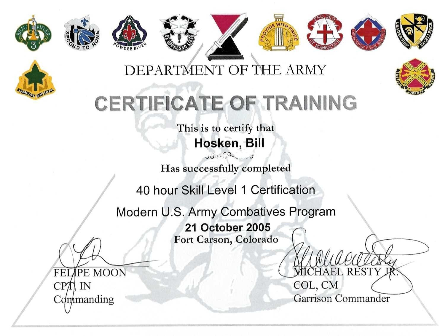 Training certificate of completion template army training certificate of completion template 1betcityfo Choice Image