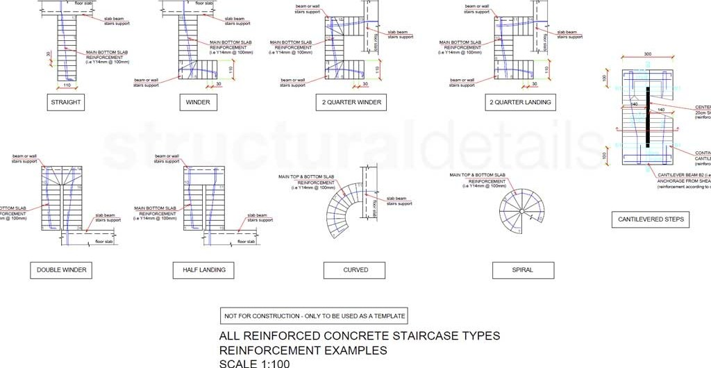 All Types Of Reinforced Concrete Stairs Reinforcement Plan Views | Double Winder Staircase Design | Handrail | Attic | Bespoke Staircase | Medium Oak | Small Space