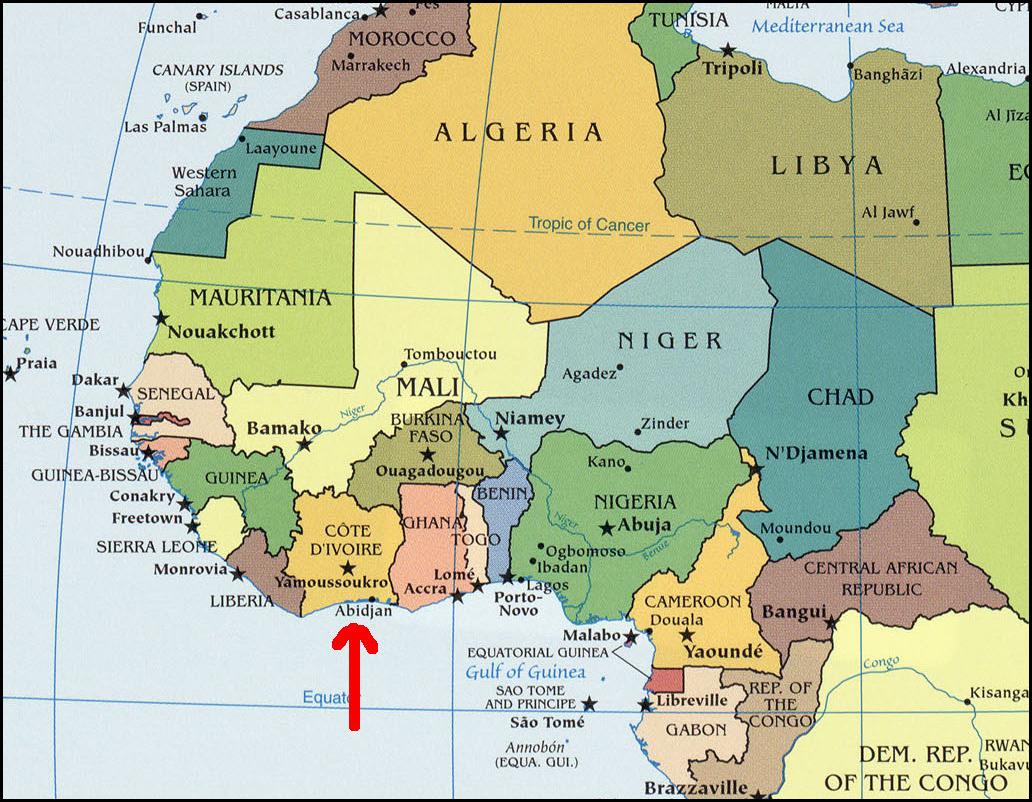 Map Of West Africa Ivory Coast