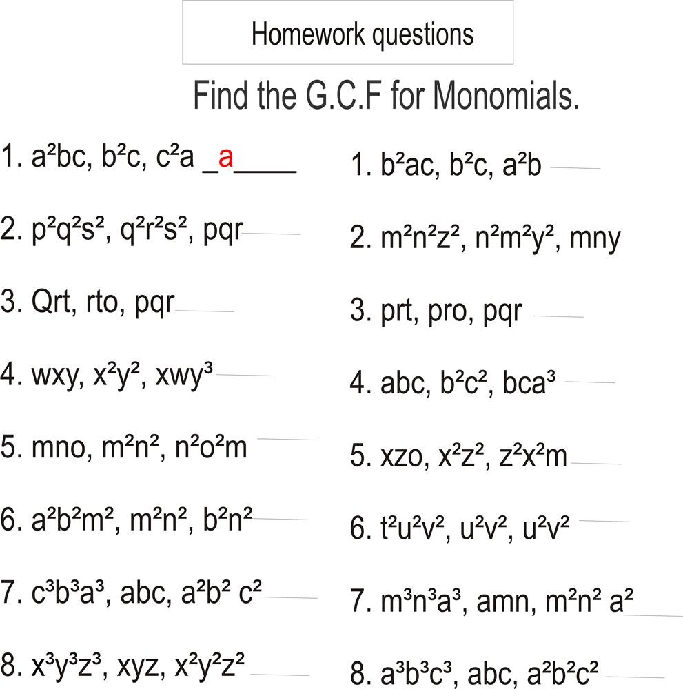worksheet Factoring Greatest Common Factor Worksheet greatest common factor and least multiple worksheet free how to write str g pers l m th homew k help gre test m