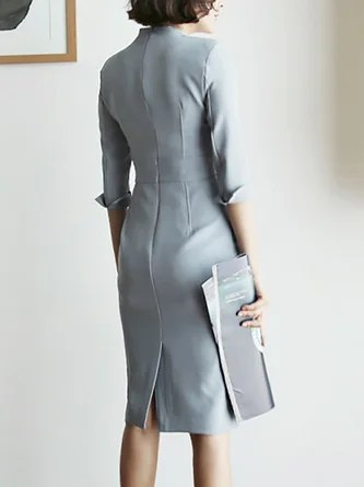 Womens Fashion   Discount Designer Clothes   Stylewe Tie neck Bodycon Work 3 4 Sleeve Slit Midi Dress