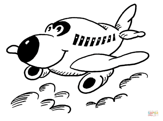 Airplanes coloring pages   Free Coloring Pages Happy Little Plane