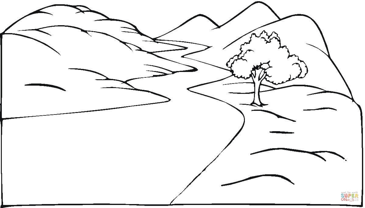 Landscape And The Winding Road Coloring Page Free Printable