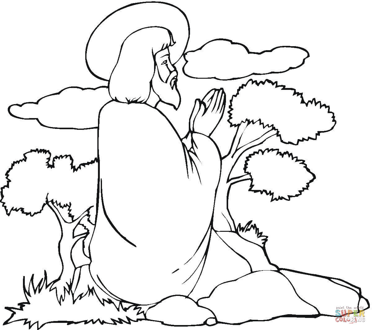 Jesus Praying Coloring Page Free Printable Coloring Pages