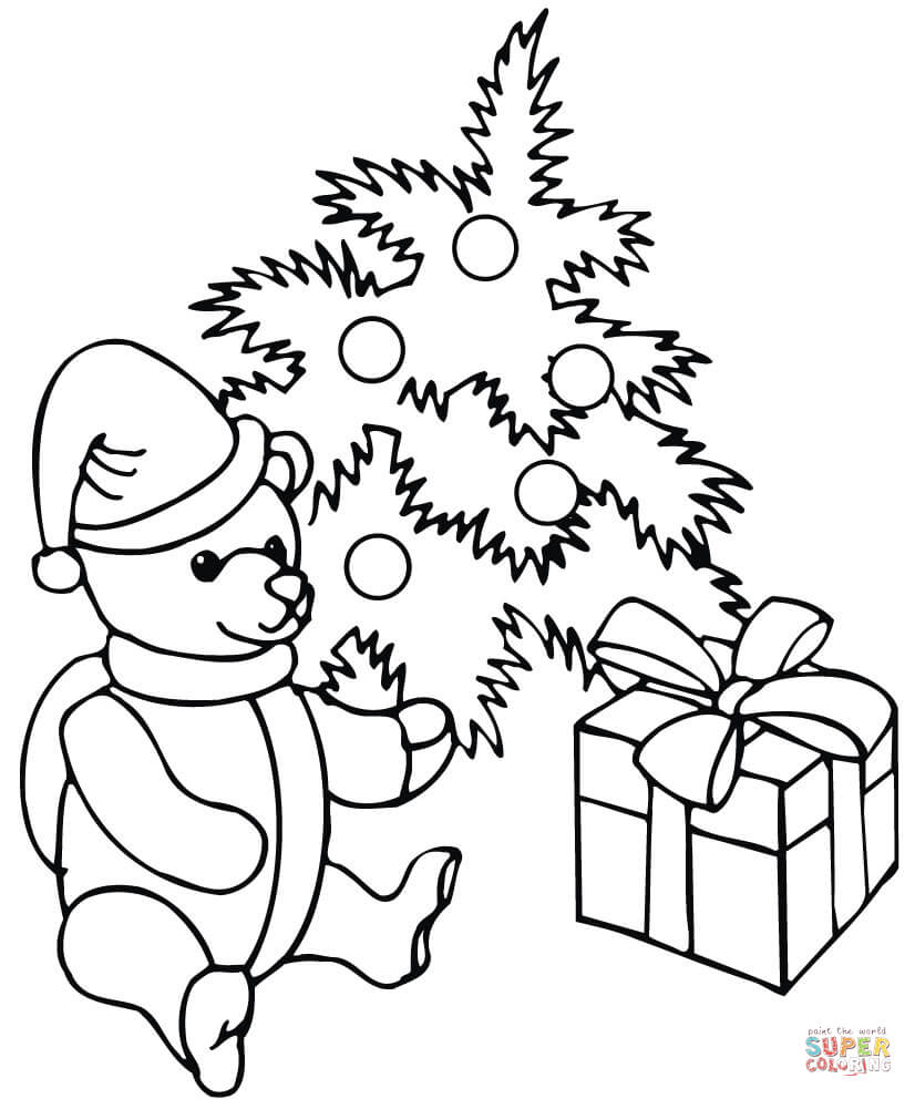 Xmas Tree With Presents Under It Coloring Page Free Printable