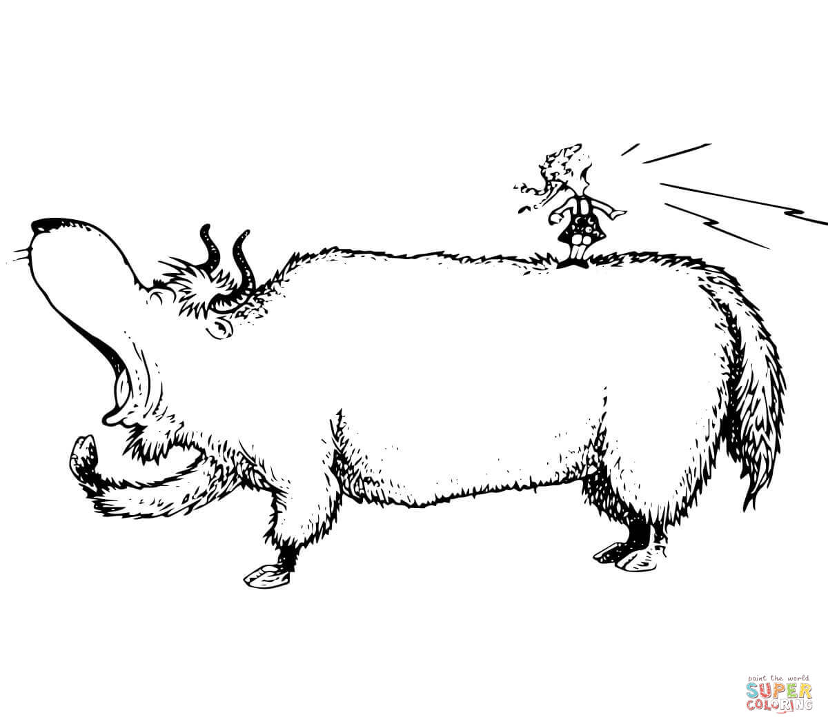 Yawning Yellow Yak Coloring Page Free Printable Coloring Pages
