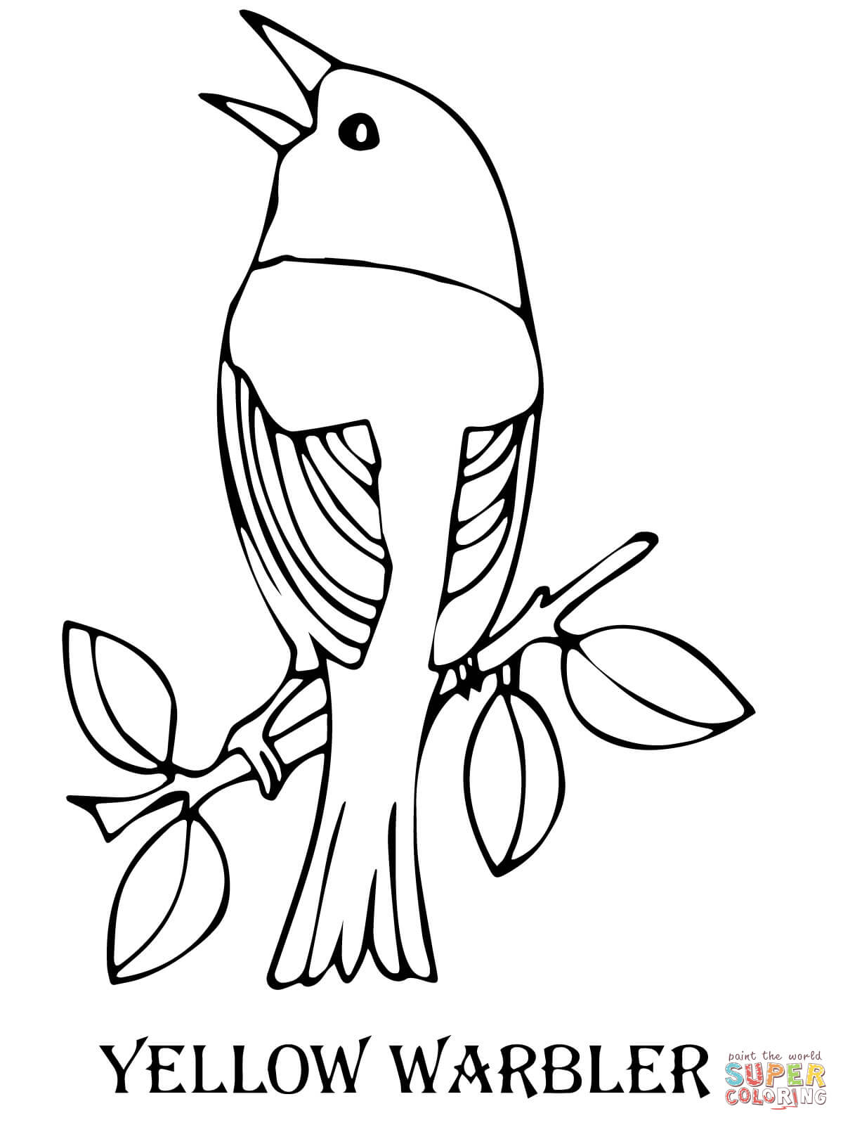 Yellow Warbler Bird Coloring Page Free Printable Coloring Pages