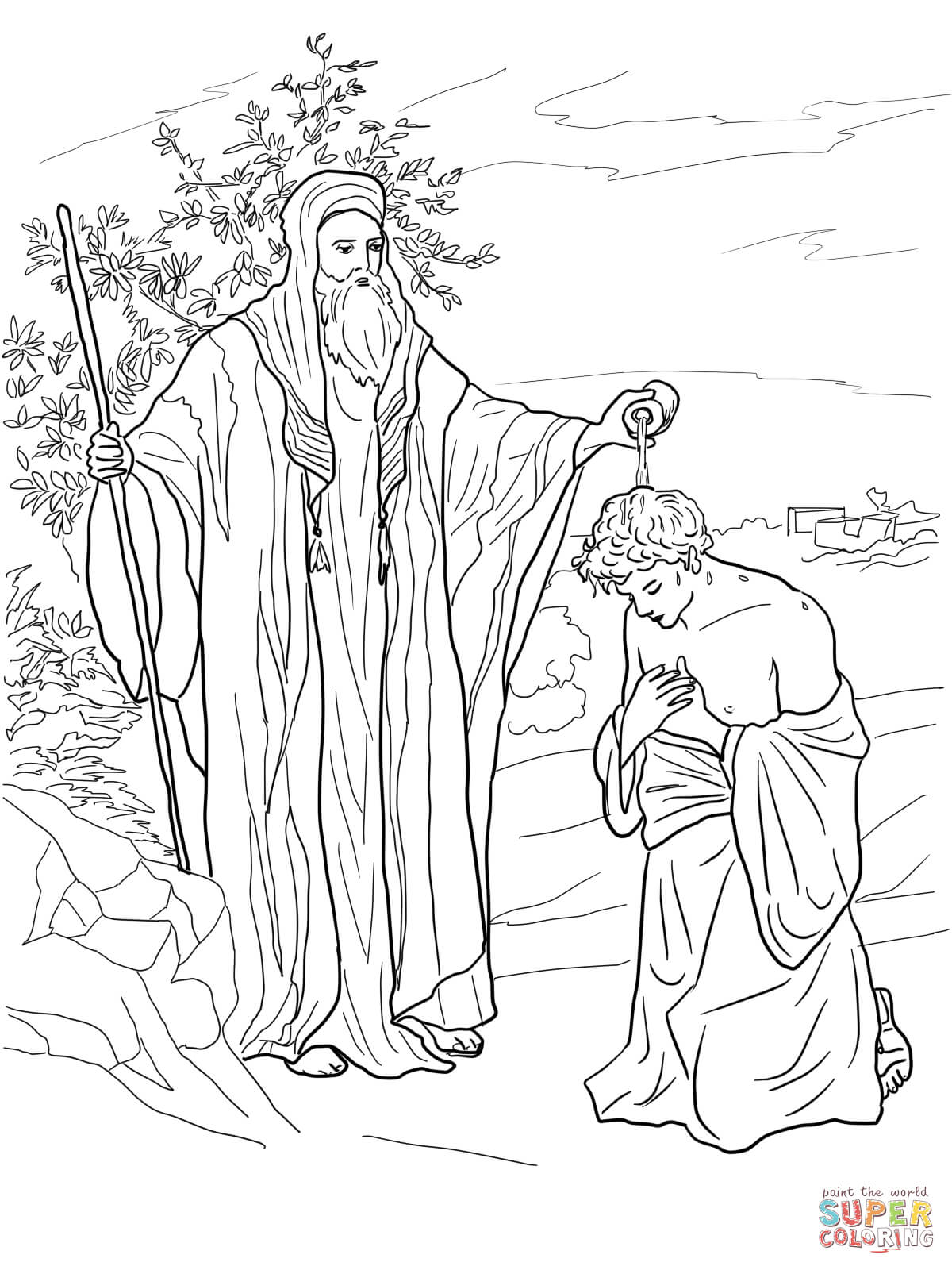 Samuel Anoints Saul As King Coloring Page Free Printable