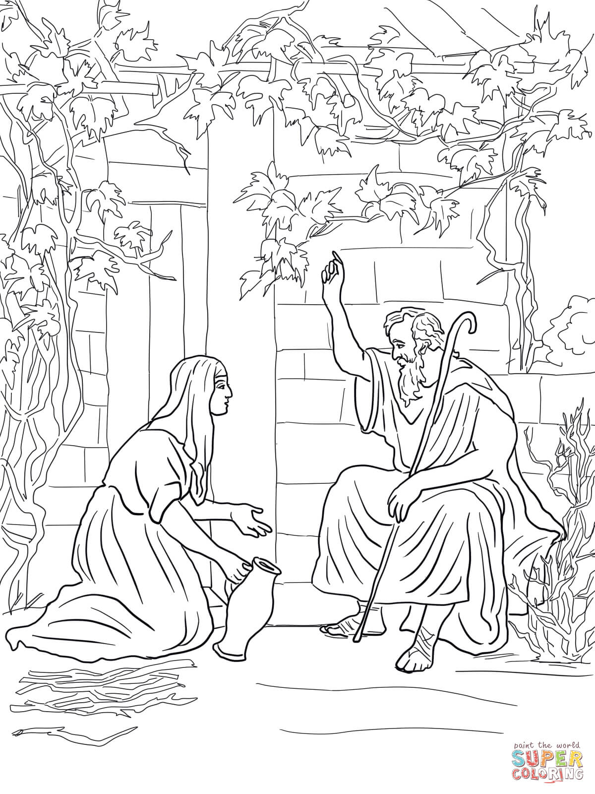 Widow Feeds Elijah Coloring Page