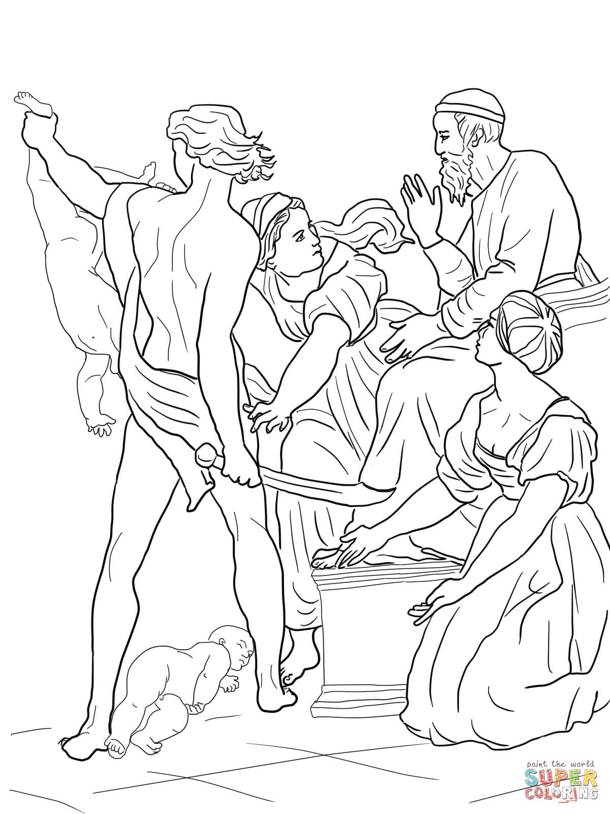 Solomon Threatened To Split The Baby In Half Coloring Page Free