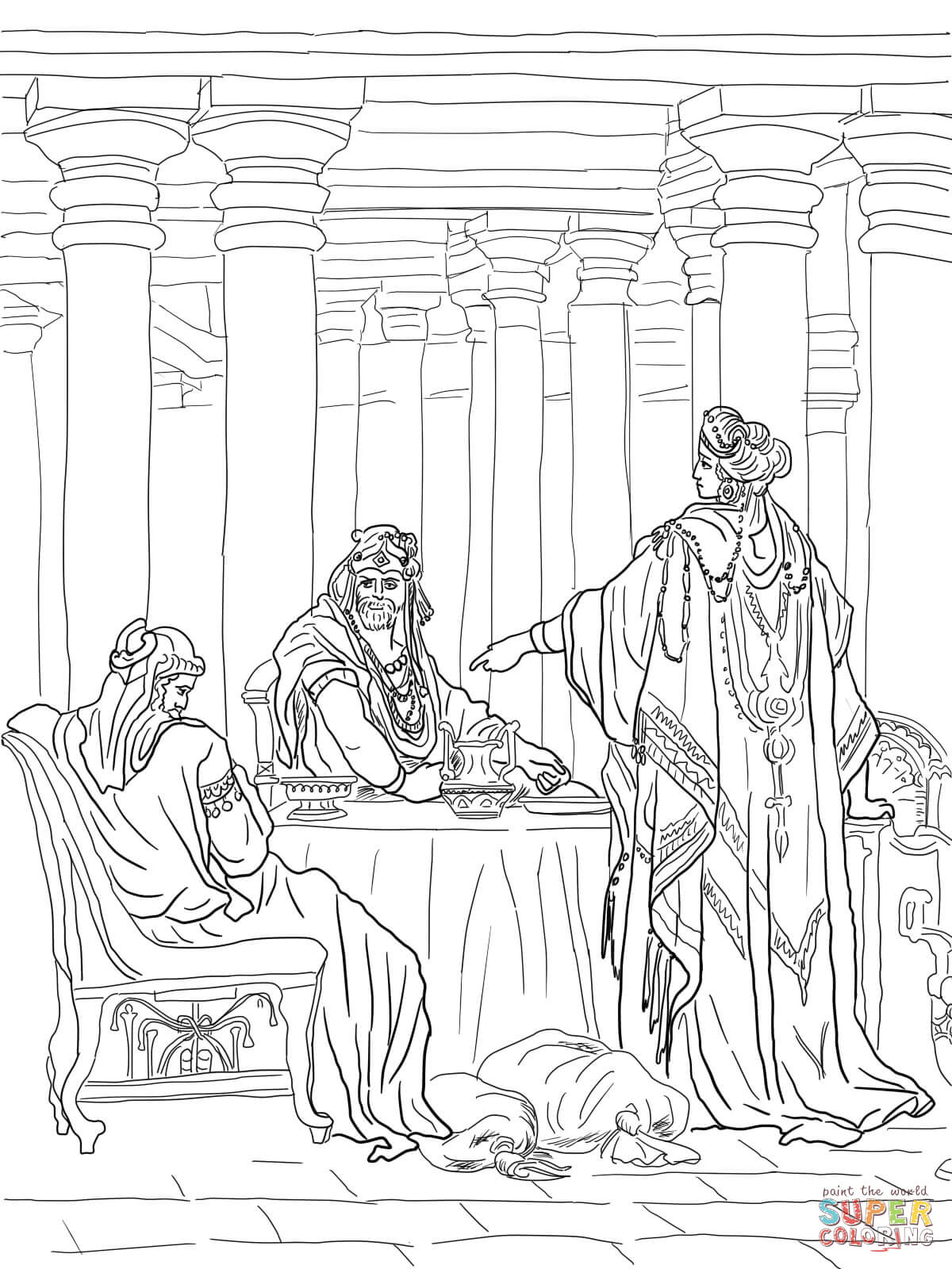 Esther Accusing Haman Coloring Page Free Printable Coloring Pages