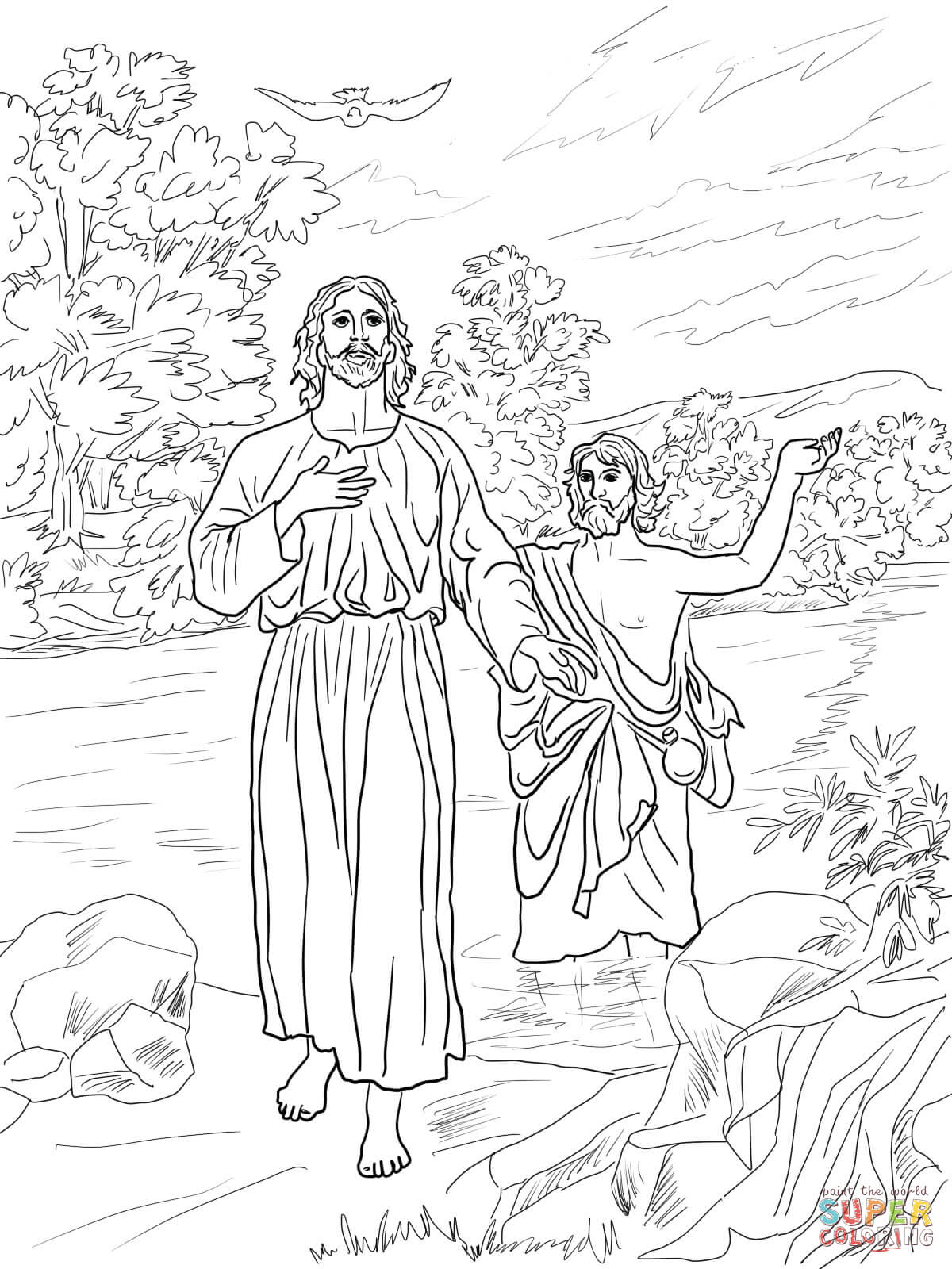 Jesus Baptized By John The Baptist Coloring Page Free Printable