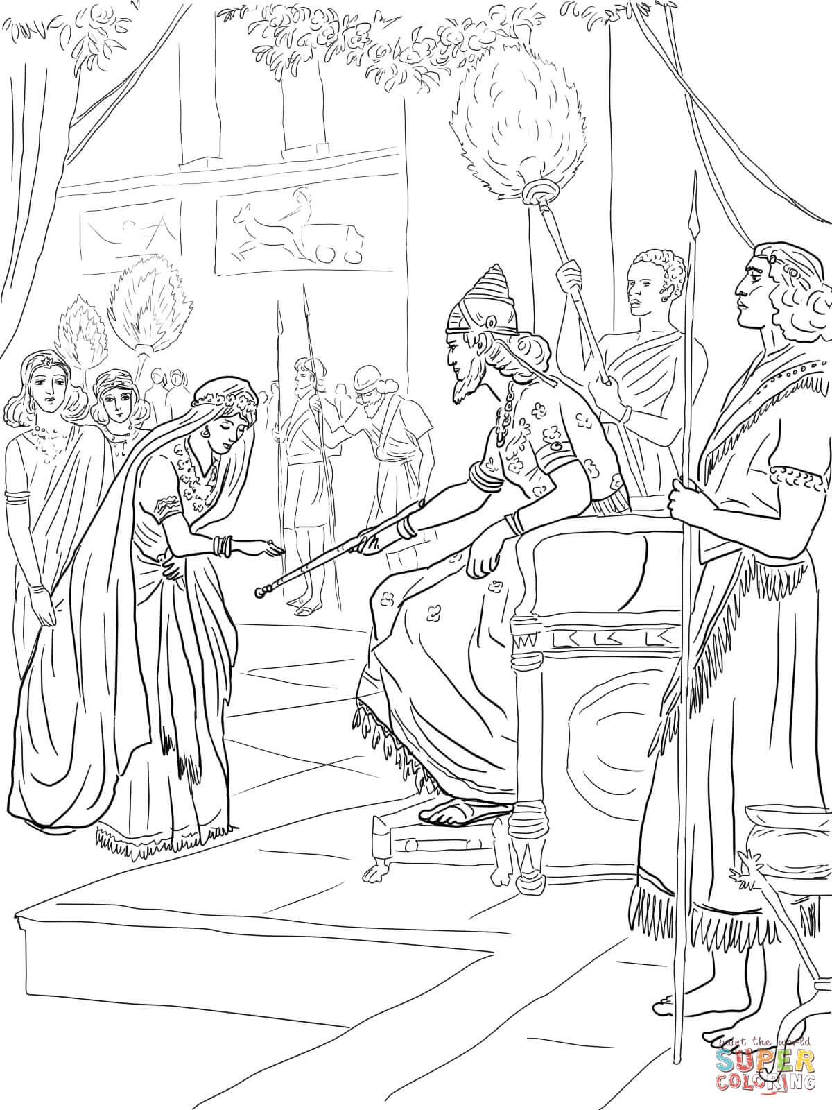 Esther And King Xerxes Coloring Page Free Printable Coloring Pages