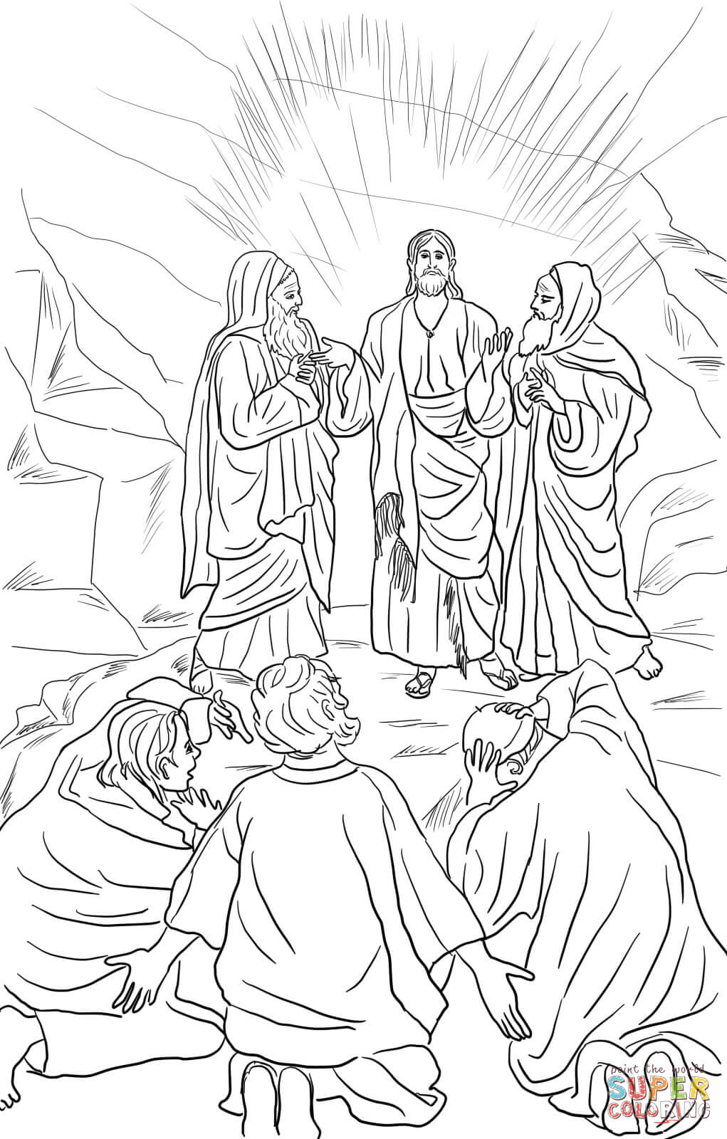 Jesus Transfiguration Coloring Page Free Printable Coloring Pages