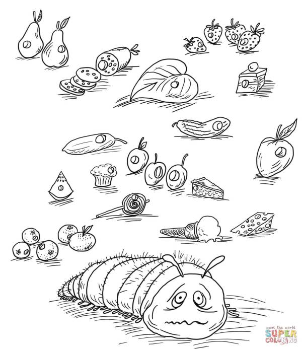 the very hungry caterpillar coloring pages # 9