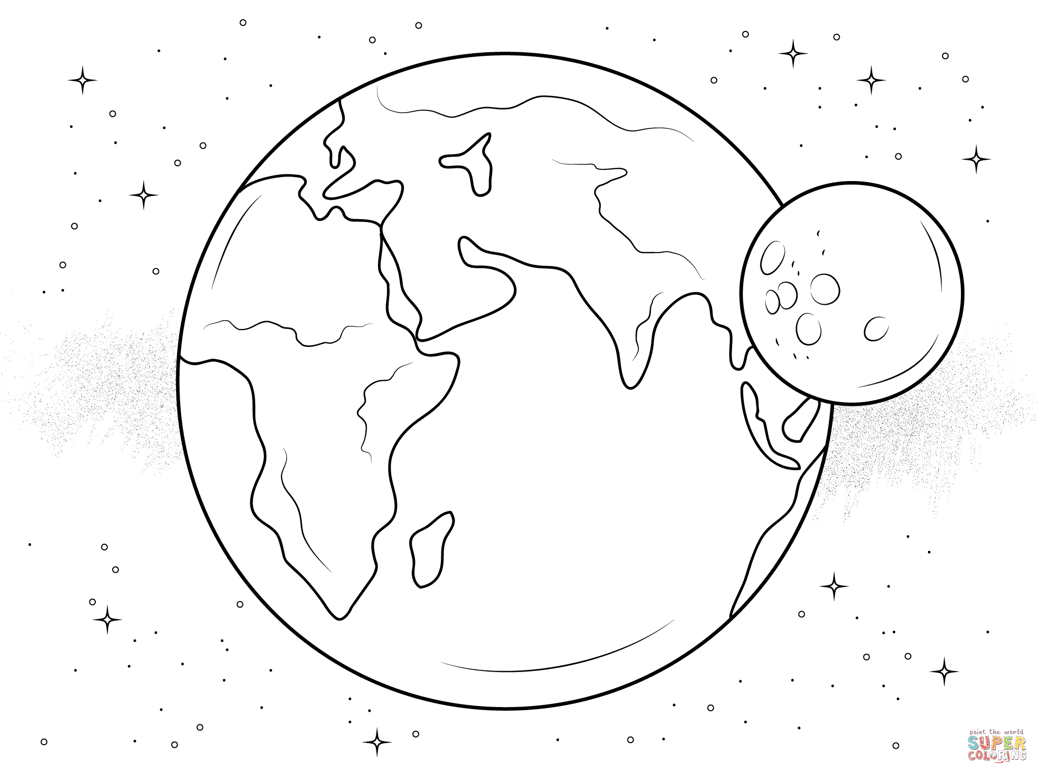 Earth And Moon Coloring Page Free Printable Pages