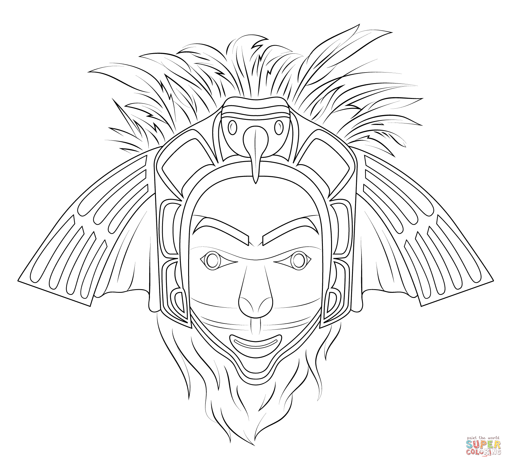 Native American Eagle Mask Coloring Page Free Printable Coloring