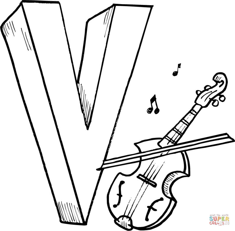 Letter V Is For Violin Coloring Page Free Printable Coloring Pages